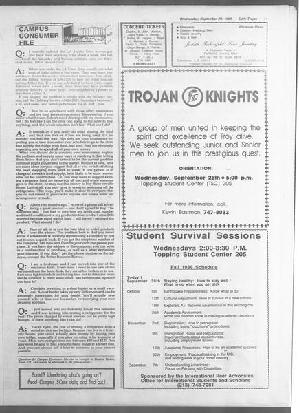 Daily Trojan, Vol. 107, No. 16, September 28, 1988
