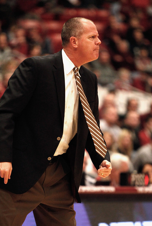 . PULLMAN, WA - JANUARY 19:  Head coach Tad Boyle of the Colorado Buffaloes gives direction to his team from the sideline during the second half of the game against the Washington State Cougars at Beasley Coliseum on January 19, 2013 in Pullman, Washington.  (Photo by William Mancebo/Getty Images)