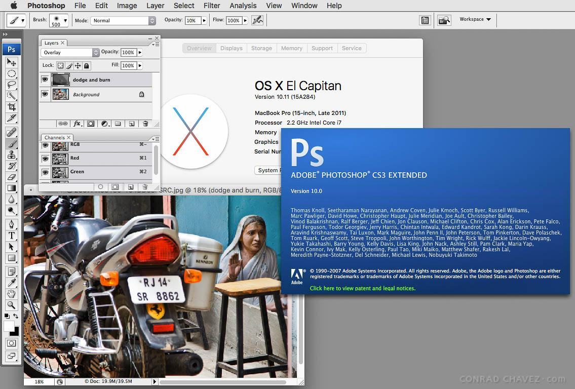 Photoshop CS3 working in OS X El Capitan.