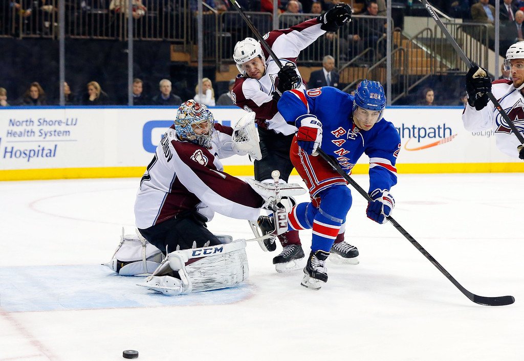 . Semyon Varlamov #1 and Jan Hejda #8 of the Colorado Avalanche defend a third-period scoring chance against Chris Kreider #20 of the New York Rangers at Madison Square Garden on February 4, 2014 in New York City.  (Photo by Jim McIsaac/Getty Images)