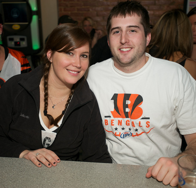 Mary Ann Brinkmeyer and Casey Miller of Cincinnati at Jerzees for the Bengals game Saturday