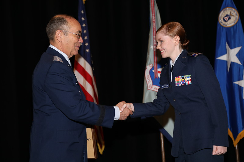 The Civil Air Patrol Cadet Noncommissioned Officer of the Year Award is sponsored by the Air Force Sergeants Association and recognizes the cadet NCO who has demonstrated an outstanding level of followership, leadership and self-discipline.  This year's winner of the Air Force Sergeants Association CAP Cadet Noncommissioned Officer of the Year is C/1Lt Morgan Balsley.  Photo by Susan Schneider, CAPNHQ
