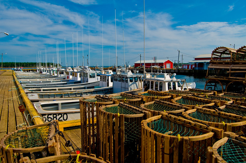 Lobster pots and fishing boats at rest