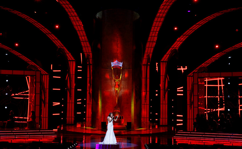 . Miss Arkansas Ashton Jo Campbell sings during the talent portion of the Miss America 2015 pageant, Sunday, Sept. 14, 2014, in Atlantic City, N.J. (AP Photo/Mel Evans)