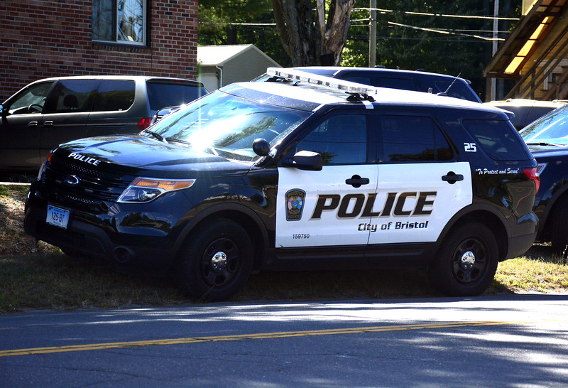9/15/2016 Mike Orazzi | Staff Bristol police cars parked along Pine Street Thursday afternoon.