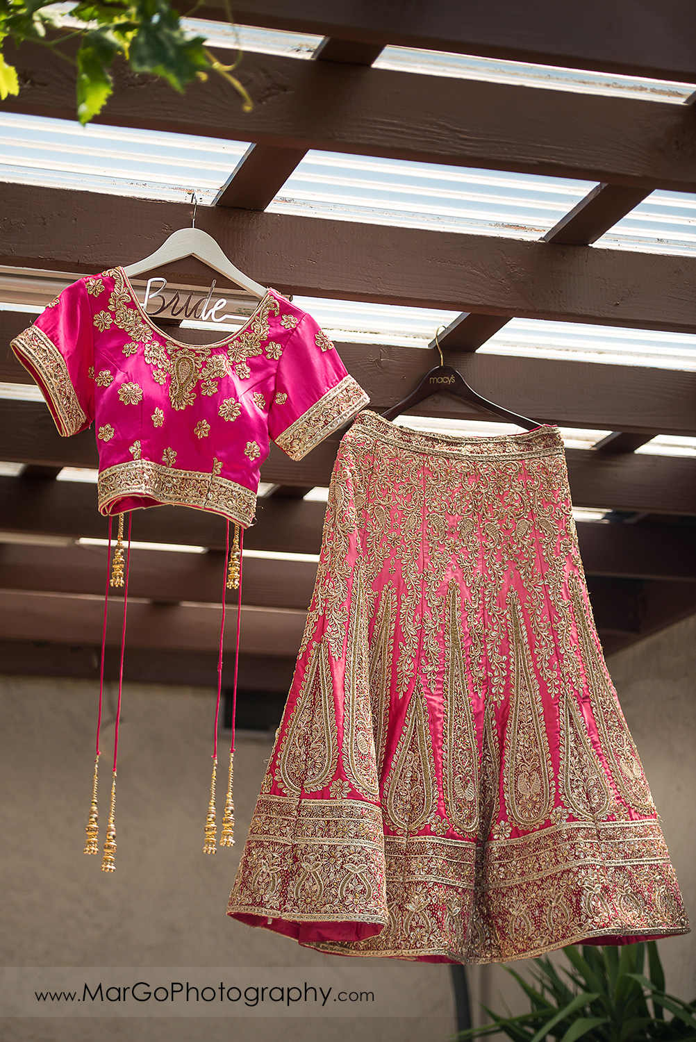 pink and golden Indian wedding bridal dress - saree