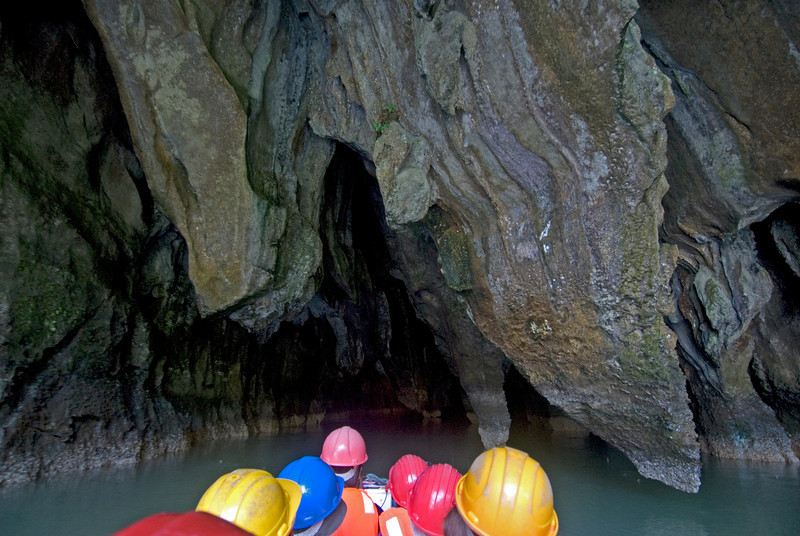 Touring the inside of  the cave with a boat - Palawan, Philippines