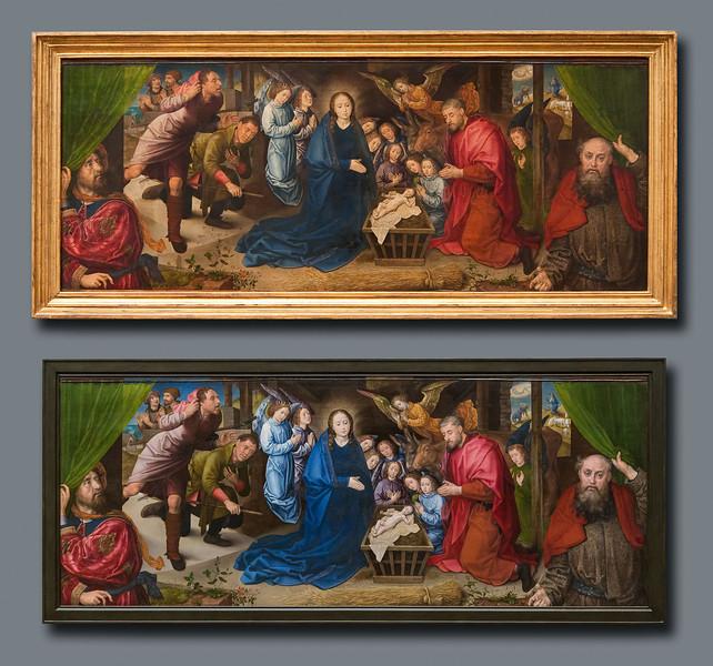 Hugo van der Goes, Anbetung der Hirten: vor Restaurierung (oben), nach Restaurierung (unten) [Gemäldegalerie Berlin]