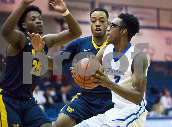 11/30/17 Wesley Bunnell | Staff CCSU Men's Basketball defeated North Carolina A&T on Thursday evening at Derrick Gymnasium in New Britain. Mustafa Jones (3).