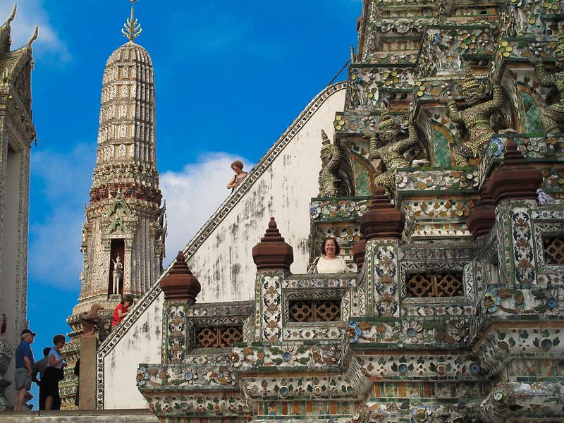 Wat Aroon (Temple of Dawn)  Renee Mirsky in foreground.  Fran Aronowitz high up on steps, followed by Susan Rein, Lynn Kaston and Gerry Paul, intrepid adventurers.