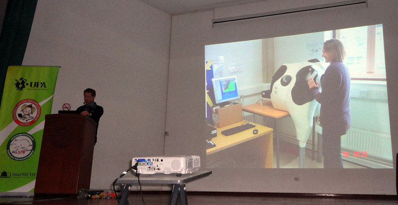 Here Dr Dixon uses a a haptic bovine rectal palpation simulator (for learning pregnancy diagnosis) at the Royal Veterinary College near London. Haptic simulators apply forces to students' fingertips that are anatomically appropriate depending on their position inside the simulation.