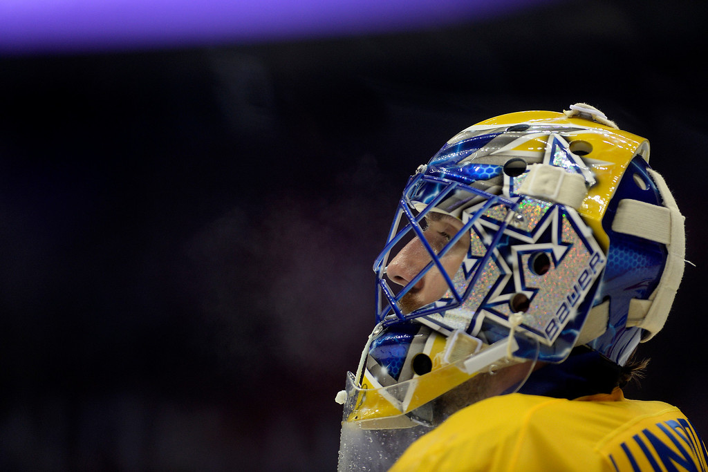 . Henrik Lundqvist (30) of Sweden takes a breather against Canada during the third period of Canada\'s 3-0 win in the men\'s ice hockey gold medal game against Sweden. Sochi 2014 Winter Olympics on Sunday, February 23, 2014 at Bolshoy Ice Arena. (Photo by AAron Ontiveroz/ The Denver Post)