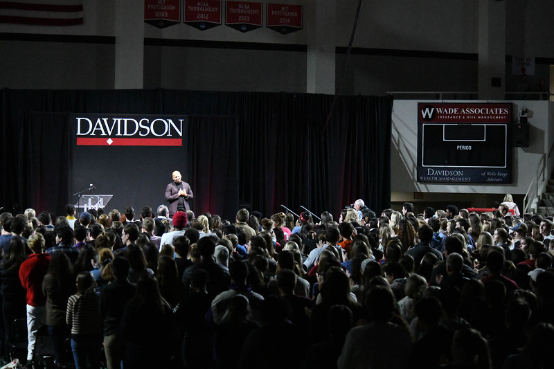 A standing ovation for Bryan Stevenson at the the sold out 2020 Reynolds Lecture - held at Belk Arena at Davidson College.
