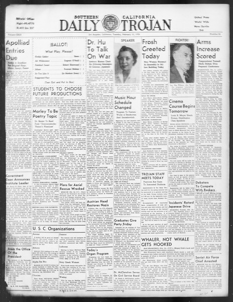 Daily Trojan, Vol. 29, No. 80, February 15, 1938