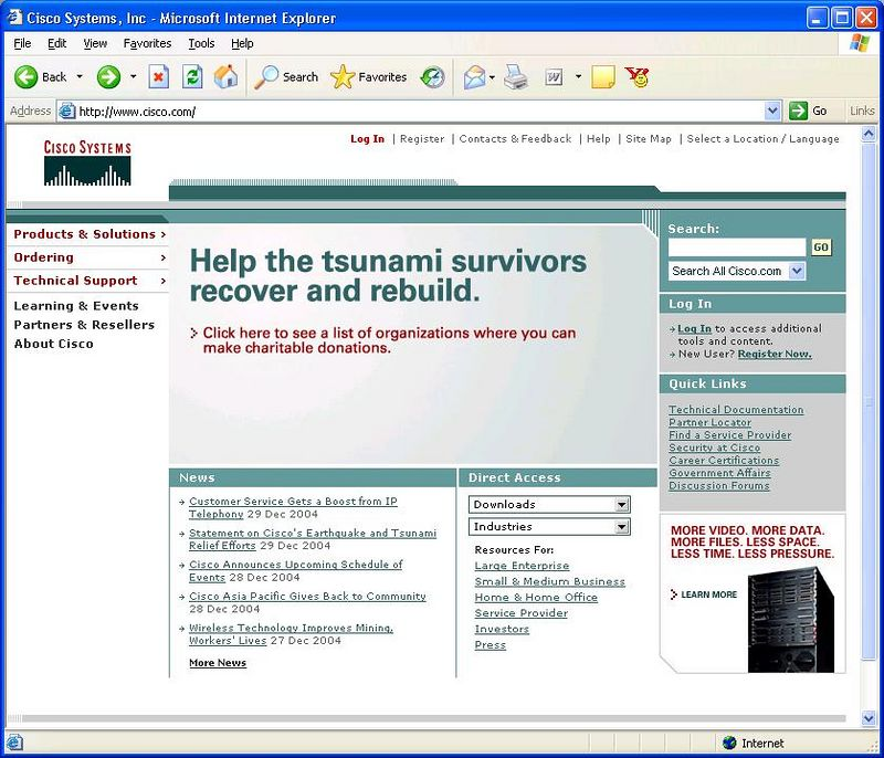 2005-01-02_Cisco_Home_Page_Featuring_Tsunami_Disaster_Relief.JPG