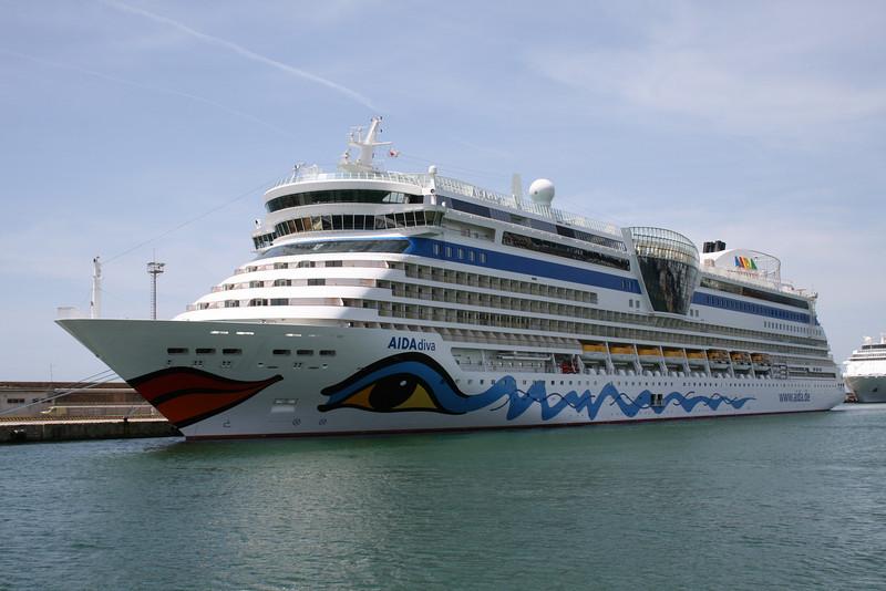 AIDA DIVA moored in Civitavecchia.
