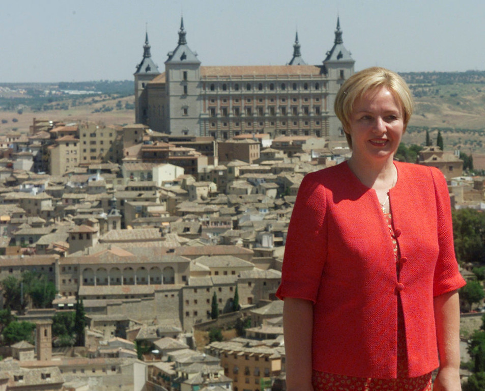 . Russia\'s First Lady Lyudmila Putin poses for a photo with Toledo\'s fortress in the background in Toledo in this undated file photo. Putin and his wife, Lyudmila, said on state television on Thursday that they had separated and their marriage was over after 30 years.  REUTERS/Stringer/Files