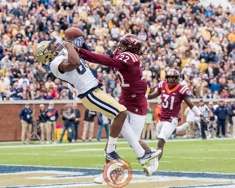 Terrell Edmunds (22) breaks up a pass to Jalen Camp (80) in Saturday's matchup between Virginia Tech and Georgia Tech, Saturday, Nov. 11, 2017. (Special by Cory Hancock)