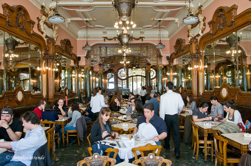 Sat 3/19 in Porto: Majestic Cafe dining room.  Doug and Louise had a wonderful tropical salad here.