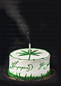 Marijuana Birthday Cake photo illustration shot in the PSBJ photo studio