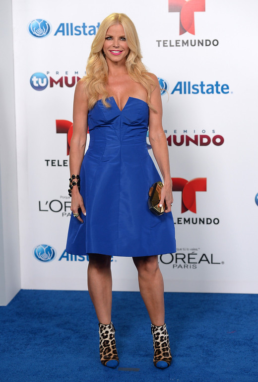 . MIAMI, FL - AUGUST 15:  TV Personality Alexia Echeverria arrives for Telemundo\'s Premios Tu Mundo Awards at American Airlines Arena on August 15, 2013 in Miami, Florida.  (Photo by Gustavo Caballero/Getty Images)