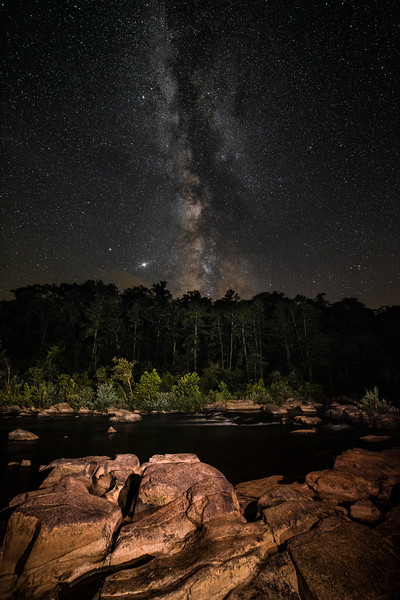Shut Ins of St. Francis River under the Milky Way