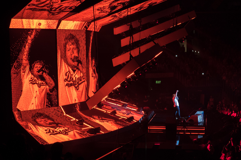 "August 11 - Ed Sheeran wearingDodger Justin Turner shirt, singing ""Shape of You"", turners theme song.jpg"