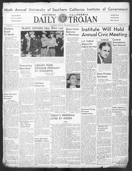 Southern California Daily Trojan: U.S.C. Institute of Government, Vol. 4, No. 2, June 16, 1937