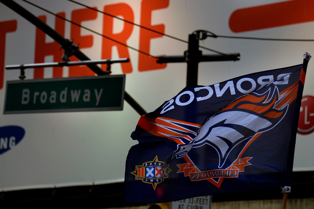 . Bronco fans in Times Square ready for Super Bowl XLVIII in New York, NY February 01, 2014 New York, NY (Photo By Joe Amon/The Denver Post)