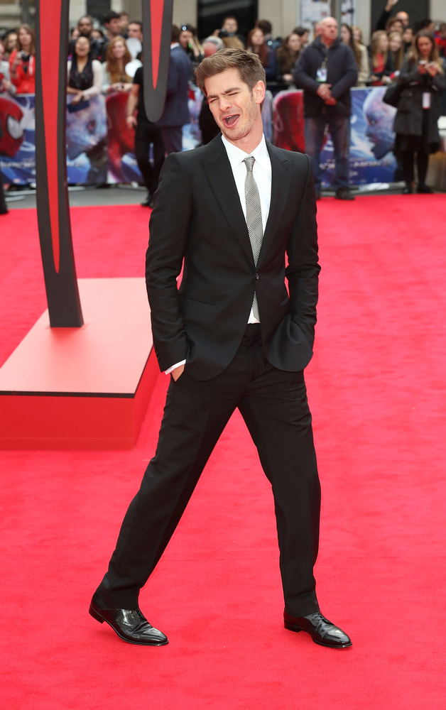". LONDON, ENGLAND - APRIL 10:  Andrew Garfield attends the World Premiere of ""The Amazing Spider-Man 2\"" at Odeon Leicester Square on April 10, 2014 in London, England.  (Photo by Tim P. Whitby/Getty Images)"