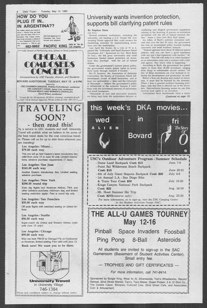 Daily Trojan, Vol. 88, No. 64, May 13, 1980