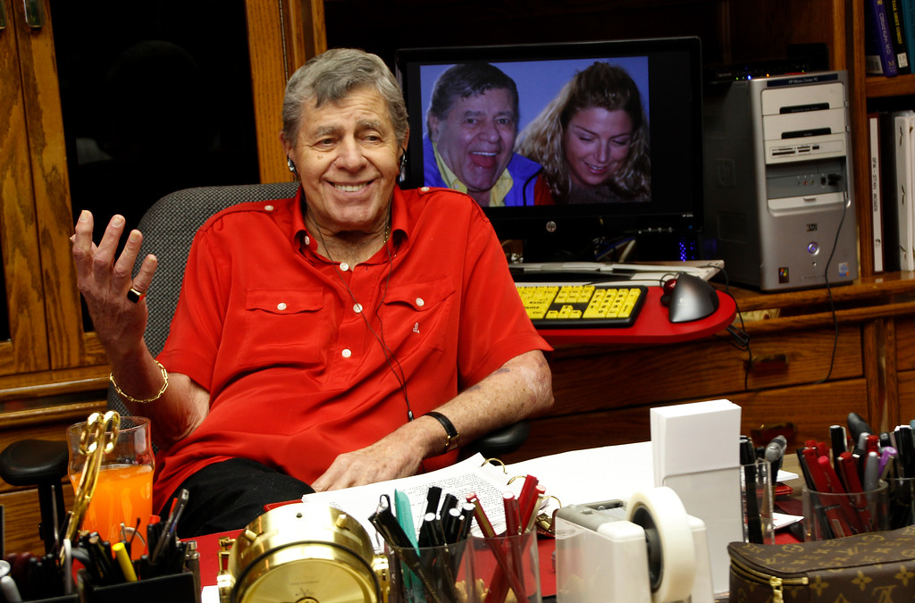 . Jerry Lewis in his Las Vegas home office, where he writes his one-man show.  Lewis, the comedian whose fundraising telethons became as famous as his hit movies, has died according to his publicist. (Photo by Norma Meyer)
