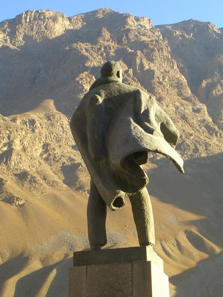 Lenin Statue Looking at Mountains - Khorog, Tajikistan