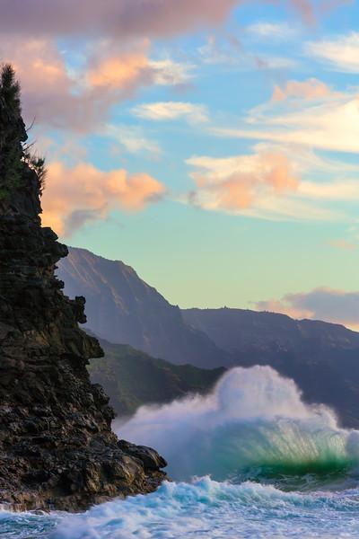 Backlit Wave and Na Pali Cliffs