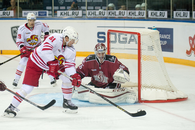 Huhtala Tommi (61) tries to score the goal in the KHL regular championship game between Dinamo Riga and Jokerit, played on September 13, 2016 in Arena Riga