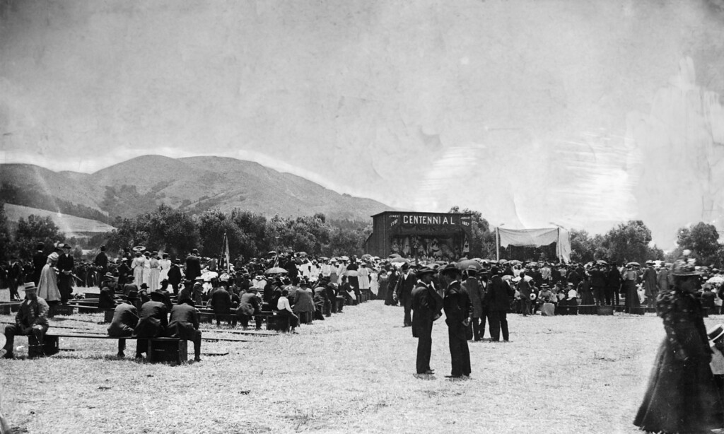 . June 13, 1897 - The centennial celebration of the Mission was highlighted by this outdoor mass and barbecue on the Gallegos ranch attended by 10,000.
