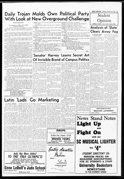 Daily Trojan, Vol. 52, No. 74, February 20, 1961