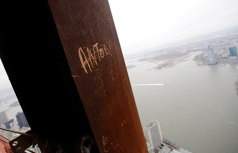 """. In this Jan. 15, 2013 photo, ìAntony,\"""" left his graffiti on a steel column on the 102nd floor of One World Trade Center in New York. Workers finishing New York\'s tallest building at the World Trade Center are leaving their personal marks on the concrete and steel in the form of graffiti. (AP Photo/Mark Lennihan)"""