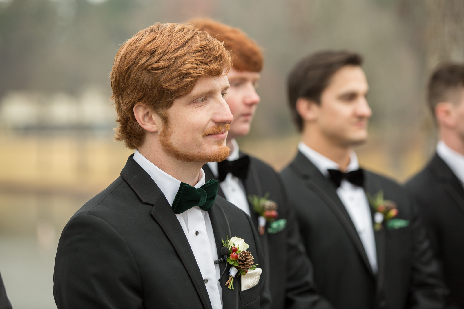 A groom waiting at the altar for his bride