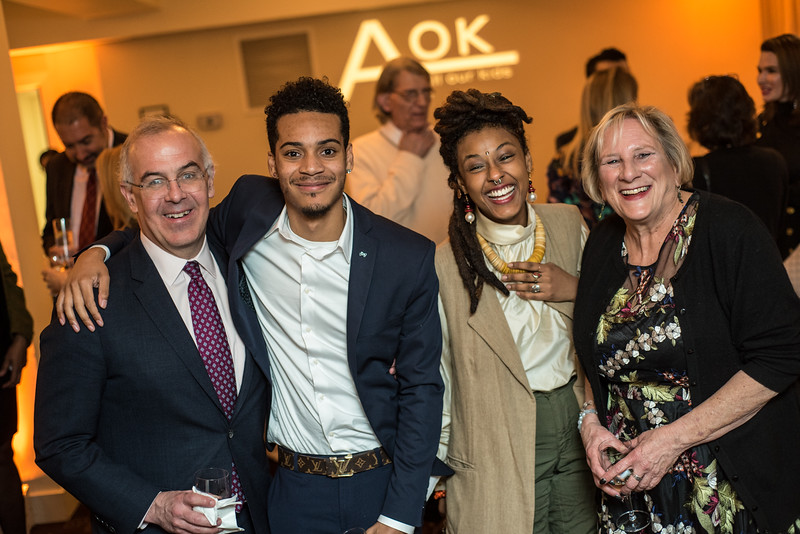 David Brooks (L) and Sara Pratt (R) with Students, First Annual All Our Kids Awards Dinner, AOK, at Sixth & I, February 15, 2018, photo by Ben Droz.