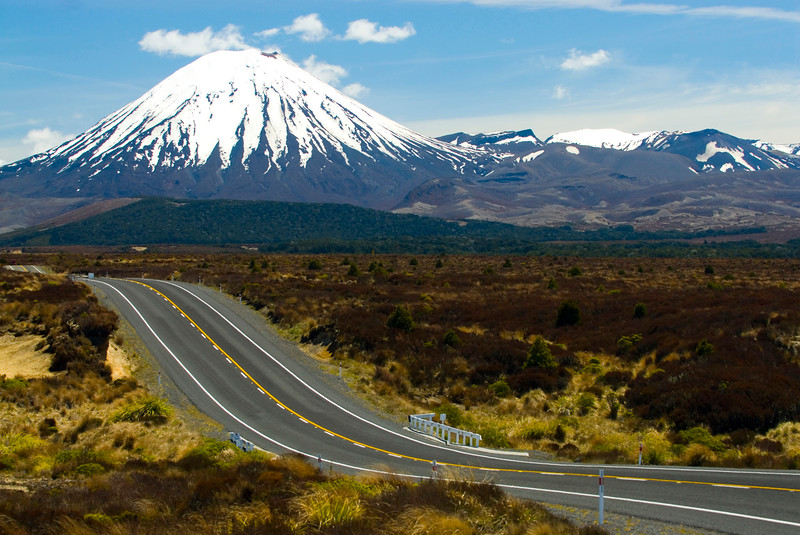 Mount Ngauruhoe is an active stratovolcano or composite cone in New Zealand is seen here from the Desert Road