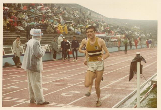 . Rick Trujillo 1970, KU Relays-- 3 Mile Run, Rick Trujillo at finish line, Lawrence ,KA_ 18 April 1970. Photo provided by Rick Trujillo