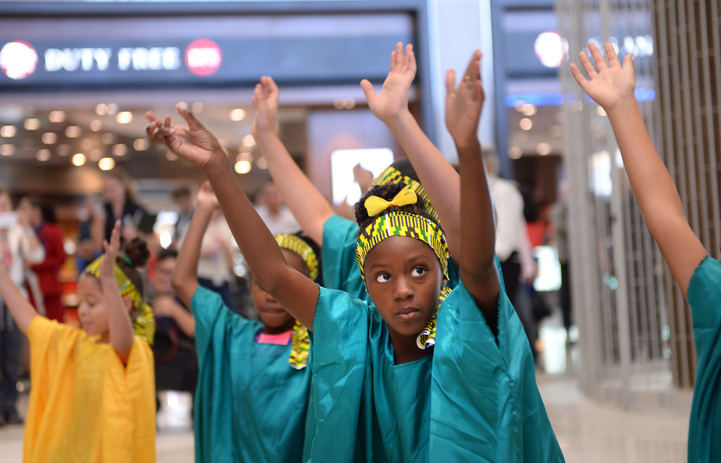 . Loyola Village Elem. School performers. At LAX, dignitaries gathered to open the new Tom Bradley International Terminal. (Wed. Sept 18, 2013 Photo by Brad Graverson/The Daily Breeze