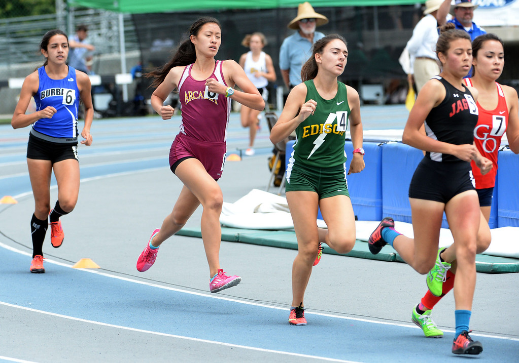 . Arcadia\'s Veronica Yamane competes in the division 1 1600 meter run during the CIF Southern Section track and final Championships at Cerritos College in Norwalk, Calif., Saturday, May 24, 2014.   (Keith Birmingham/Pasadena Star-News)