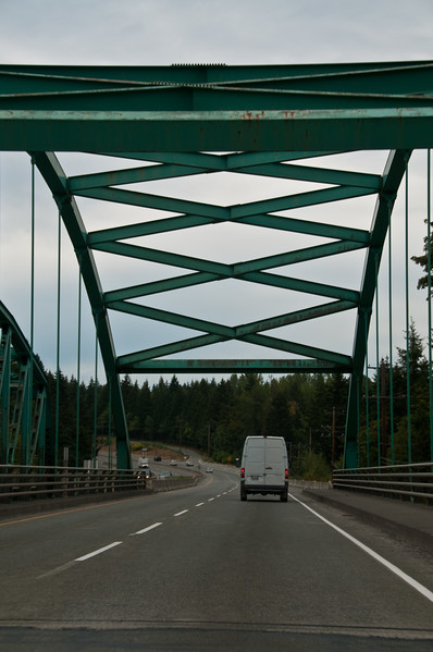 Heading over a humpback bridge on Victoria Island on the way to Nanaimo.