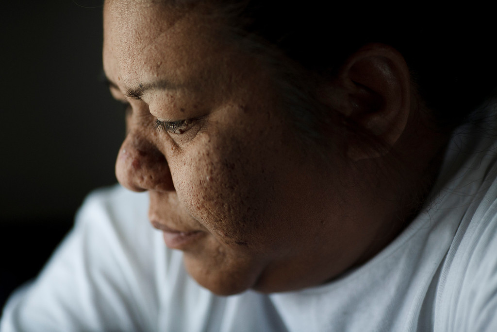 . After cooking and playing with her young daughters, Clarissa Taitano takes a moment of rest in her mobile home on May 24, 2013, in San Jose. The family recently moved to their mobile home after living in a Santa Clara motel for 64 days. (Dai Sugano/Bay Area News Group)