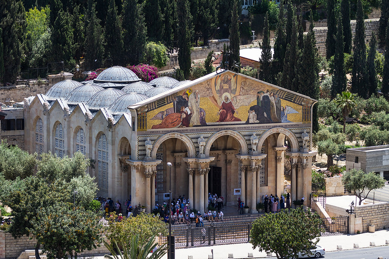 The Church of All Nations, standing near the foot of the Mount of Olives in Jerusalem, is built over the rock on which Jesus is believed to have prayed in agony the night before he was crucified.  The church and the adjacent Garden of Gethsemane, with its eight ancient olive trees, provide an evocative place for meditation.  The church's design blends the façade of a typically Roman basilica with a roof of 12 small domes.