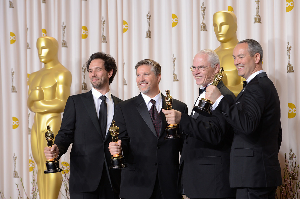 ". special effects team from ""Life of Pi\"" accept the award for best visual effects backstage at the 85th Academy Awards at the Dolby Theatre in Los Angeles, California on Sunday Feb. 24, 2013 ( David Crane, staff photographer)"
