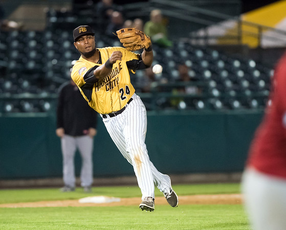 08/20/18 Wesley Bunnell | Staff The New Britain Bees defeated the Road Warriors 8-6 in Atlantic League Baseball at New Britain Stadium on Monday evening. Third baseman Deibinson Romero (24) comes in on the play and throws on the run for the out.