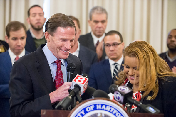 01/10/20 Wesley Bunnell | StaffrrSenator Richard Blumenthal is introduced by Hartford Council President Maly Rosado during a conference on Friday afternoon. Senator Richard Blumenthal along with Governor Ned Lamont, Hartford Mayor Luke Bronin, Lt. Gov. Susan Bysiewicz, other government officials and community activists mets at Hartford City Hall on Friday afternoon to discuss how to help Puerto Rico after a series of earthquakes recently. The Senator called for fair and affordable prices on airline tickets leaving Puerto Rico which have skyrocketed in price. Others noted the Trump administrations failure to release federal funding already designated for relief efforts two years ago after Hurricane Maria.